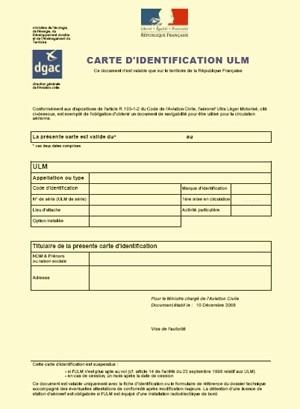 Délivrance initiale de la carte d'identification ULM